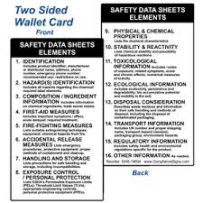 Ghs Safety Data Sheet Template Safety Data Sheets Elements Wallet Card Ghs 19604 Msds