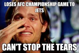 Brady Crying Meme - loses afc chionship game to jets can t stop the tears crying