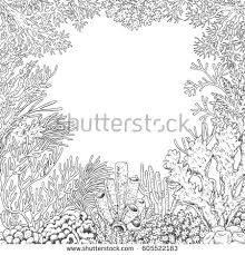 hand drawn underwater natural elements sketch stock vector