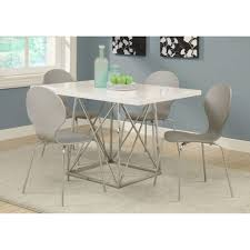 contemporary white glossy chrome metal counter height dining table