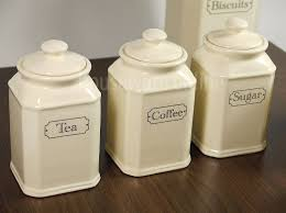 ceramic kitchen canister 3pc traditional ivory ceramic tea coffee sugar jar canister