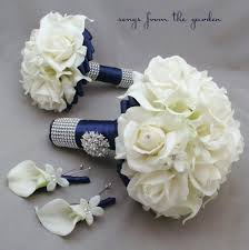 Groom S Boutonniere Navy White Wedding Package Bridal Bouquet Groom U0027s Boutonniere