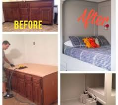 Bench Built Into Wall Hometalk Diy Turn An Old Bathroom Vanity Into A Built In Bed