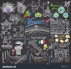 Venice Italy Map Venice Italy Sketch Elements Hand Drawn Stock Illustration