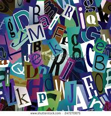 magazine letters collage seamless vector pattern stock vector