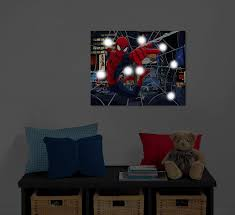 marvel spiderman light up canvas wall art with bonus led lights