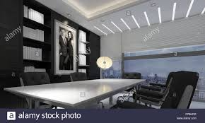 panoramic interior modern office in high rise building long