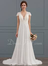 chiffon wedding dress a line princess v neck sweep chiffon wedding dress with
