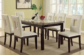 Marble Top Dining Room Sets Home Design Ideas And Pictures - White leather dining room set