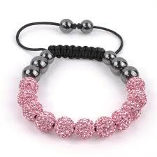 crystal pink bracelet images Pink crystal disco ball bracelet inline macrame hematite just jpg