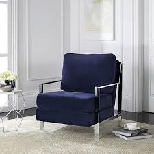 Blue Velvet Accent Chair Safavieh Modern Walden Tufted Blue Velvet Accent Chair Free