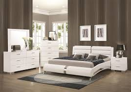 white king bedroom furniture set 6 piece bedroom set in glossy white finish by coaster 300345