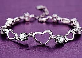 crystal link bracelet images Sterling silver bracelet women heart hand chain jpg