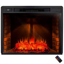 freestanding electric fireplace insert heater in black with tempered glass and remote control fp0017 the home depot