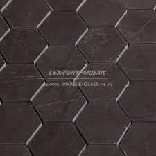 century 2 u201d graphite gray hexagon mosaic tile sheets for bathroom