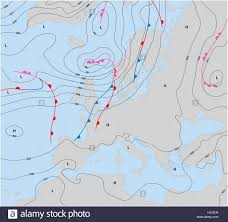 European Weather Map by Imaginary Weather Map Showing Isobars And Weather Fronts Europe