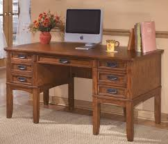 Wooden Desk With Shelves Large Leg Desk With Storage By Ashley Furniture Chicago Office
