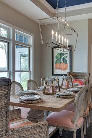 Best 20 Farmhouse Table Ideas by Linear Chandelier Kitchen Transitional With Farmhouse Table Dining