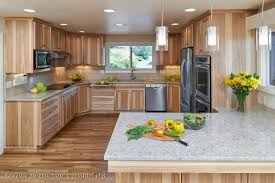 Natural Hickory Kitchen Cabinets Quartz Countertops With Calico Hickory Quarter Sawn Cabinets