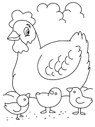 coloring page of a chicken hen with chickens coloring page for kids free coloring printable