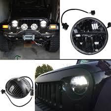 stock jeep headlights amazon com whdz 7 inch round led headlight for jeep wrangler cj