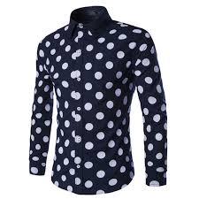 2016 new big polka dot men shirt fashion mens dress shirts slim