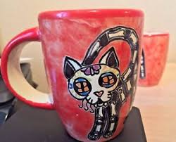 Handmade Mexican Pottery - talavera day of the dead cup cat catrina mug handmade mexican