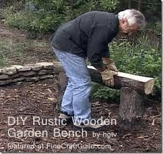 Rustic Log Benches - rustic wooden stone garden benches