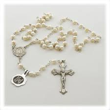 pearl rosary white freshwater pearl rosary st patricks guild