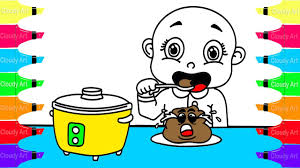 how to draw baby eating coloring pages for kids coloring