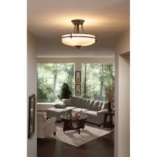 lighting ideas 3 light brushed nickel semi flush mount ceiling