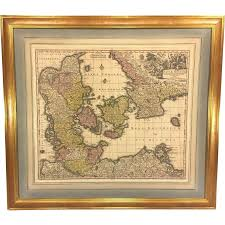 Large Framed World Map by Antique Map Of The Kingdom Of Denmark Titled