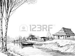 nature sketch boat on river or delta royalty free cliparts