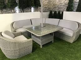 Curved Modular Outdoor Seating by Life Garden Ravello Curved Modular Dining Set