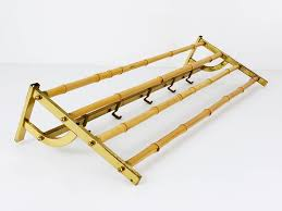 a beautiful mid century brass bamboo coat rack with hooks austria