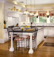 White Traditional Kitchen Design Ideas by White Top Cream Color Wooden Cabinets Brown Color Marble