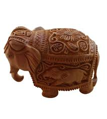 buy wooden animal home decor items handicrunch indian elephant wood carving statue