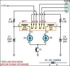 momentary switch teamed with latching relay 1n4004 circuit