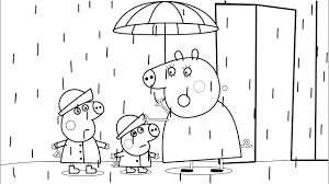 peppa pig mummy pig rain coloring book pages kids fun activities