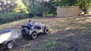 jeep mini 150cc mini willys jeep u0026 trailer in garden 5 year old driver youtube