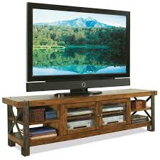 rustic tv stand console table with bookshelf and storage with