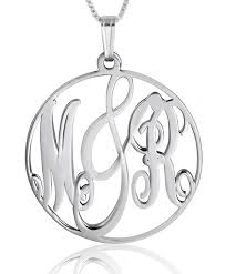 circle monogram necklace 14k white gold framed monogram necklace namefactory