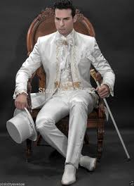 wedding suits classic ivory gold embroidery mens suits stand collar wedding