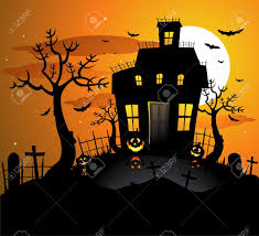 halloween background vertical house and tree background clipart