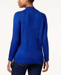 karen scott petite mock neck cable knit sweater created for