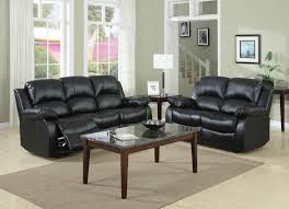 Black Leather Reclining Sofa And Loveseat Cranley Black 2pc Reclining Sofa Loveseat Set Dallas Intended