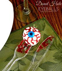 halloween edible crafts video halloween doughnut hole eyeballs on a fork lindsay ann bakes