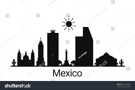 mexico city outline skyline all mexico stock vector 562798603