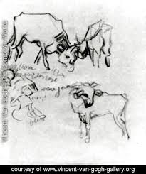 vincent van gogh the complete works sketch of cows and