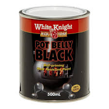 Potbelly Blinds White Knight High Temp 500ml Pot Belly Black Heat Resistant Paint